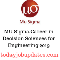 MU Sigma Career in Decision Sciences for Engineering 2019